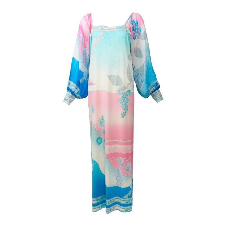 1970s Leonard Paris Silk Chiffon & Jersey Maxi Dress