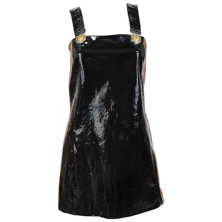 New Versace Versus Black Patent Leather Mini Dress  For Sale