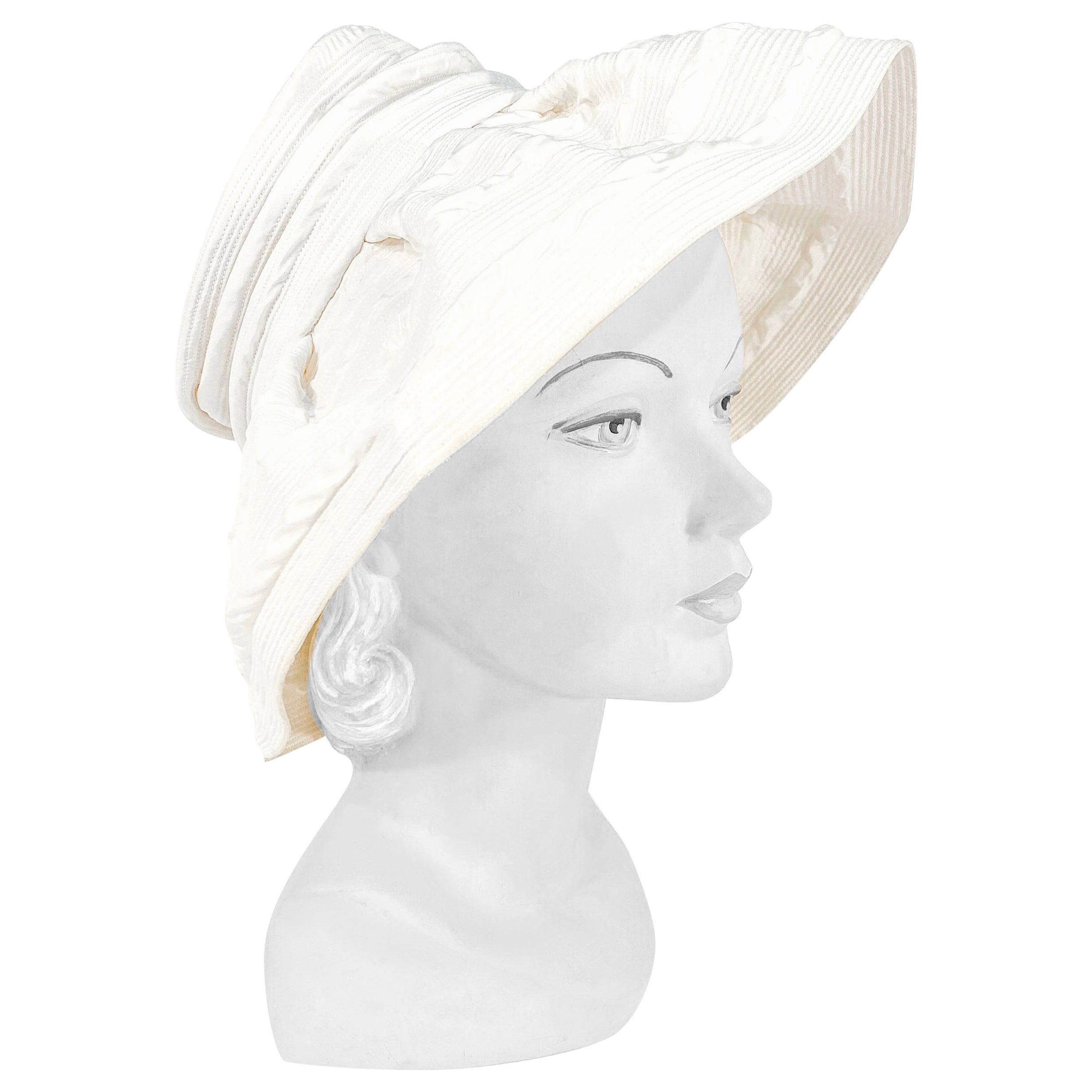 1960s Saks Fifth Ave Off-White Fashion Hat