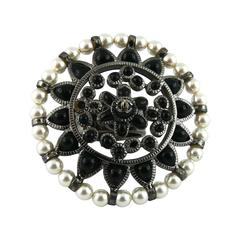 Chanel Black and White Couture Flower Ring US Size 6 3/4