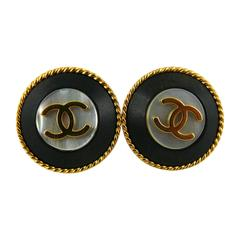 Chanel Vintage CC Mother of Pearl Clip-On Earrings, Fall 1995