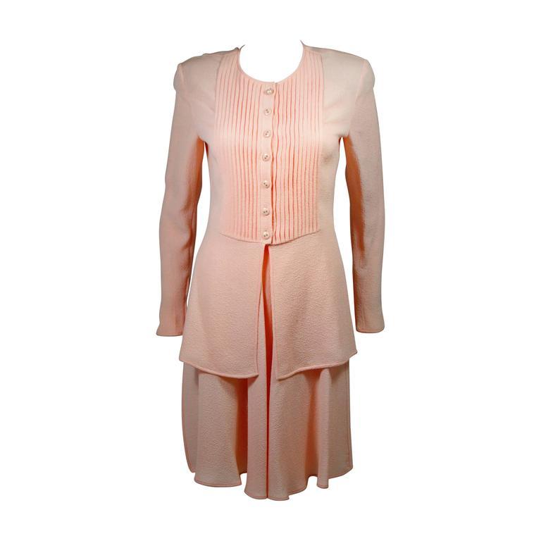 Valentino Pleated Pink Silk Skirt Ensemble Size 6 8