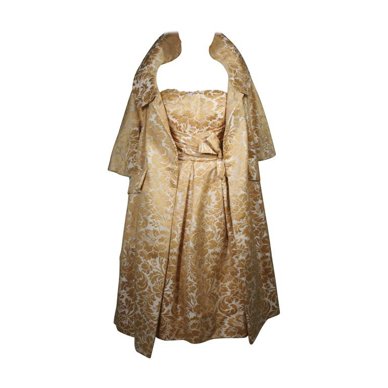 Samuel Winston Gold and Cream Brocade Evening Ensemble Size Small  For Sale