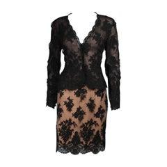 Bill Blass Black Lace and Mesh Skirt Set Size 12 14