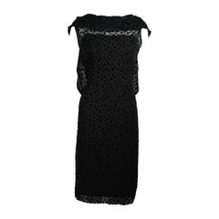 Jean Desses Black Chiffon and Velvet Draped Cocktail Dress Size Small
