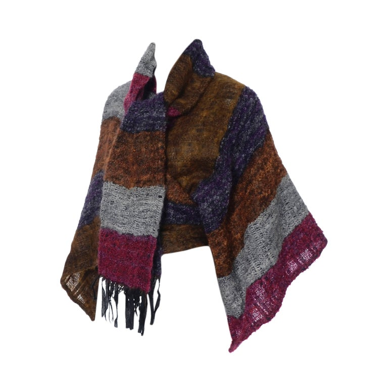Nikos Hand Woven Wool 3 Piece Set With Wrap / Sweater Scarf & Handbag For Sale