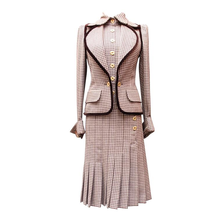Fall 2004 Jean-Louis Scherrer Houndstooth Dress and Jacket Ensemble For Sale