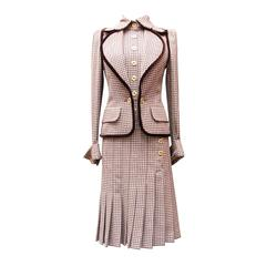 Fall 2004 Jean-Louis Scherrer Houndstooth Dress and Jacket Ensemble