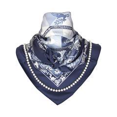 Authentic Hermes Silk Scarf Fleurs d Hiver Blue Laroche 90 cm