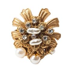Miriam Haskell Pearl and Diamante Cocktail Ring