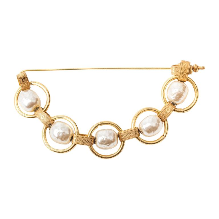 Miriam Haskell Baroque Pearl and Chain Stickpin