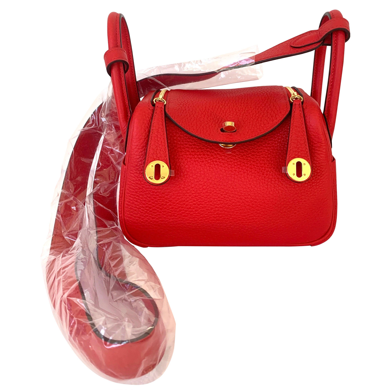 Hermes Rouge de Coeur Mini Lindy Handbag Bag