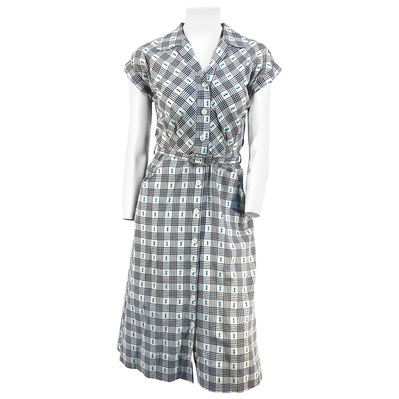 1950s Hattie Carnegie Cotton Day Shirt Waist Dress