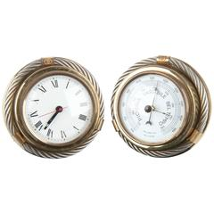 GUCCI Italian VINTAGE Gold Metal & Silver Round BAROMETER & CLOCK SET