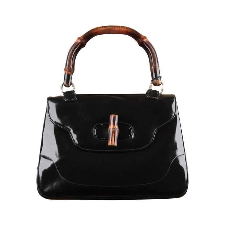 GUCCI Italian VINTAGE Black Patent Leather BAMBOO BAG Handbag PURSE Rare 1