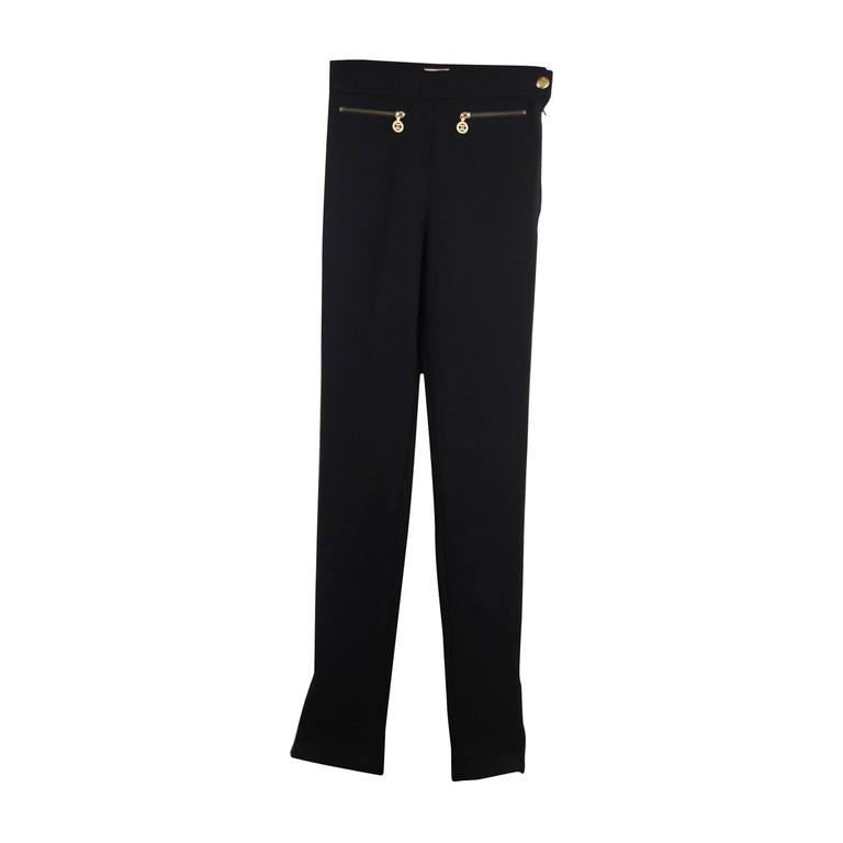 CHANEL Vintage Black Wool Blend HIGH WAIST Slim Fit TROUSERS Pants SIZE 36 FR For Sale