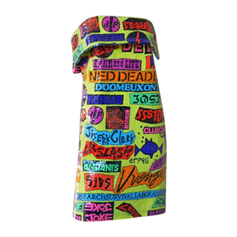 1988 Stephen Sprouse Rock Sticker Beaded Dress New Condition For Sale
