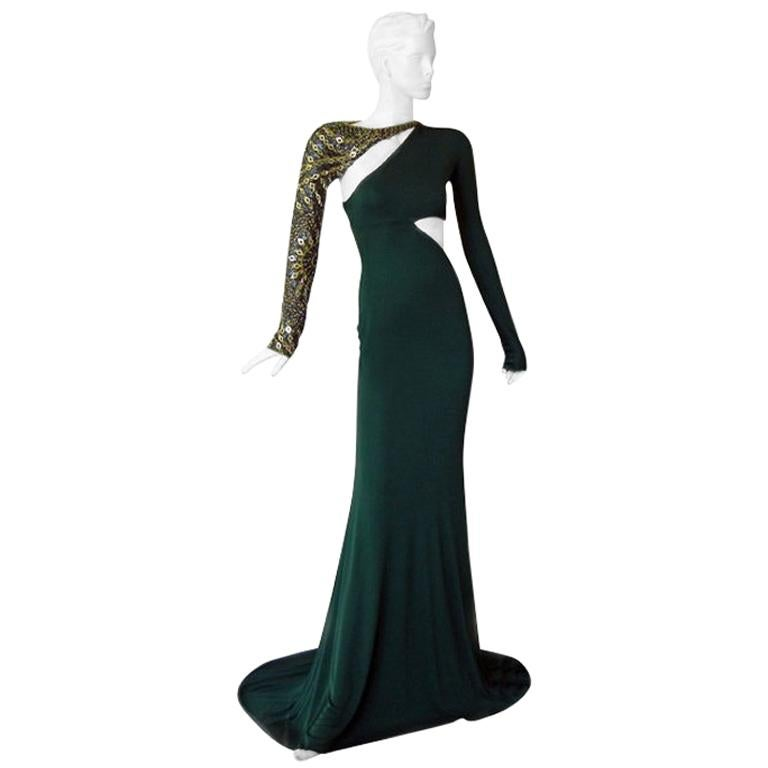 Emilio Pucci Dramatic Cut-Out Beaded Bias Cut Gown For Sale