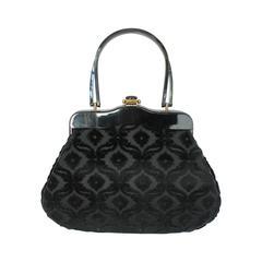 1950's Rialto NY Vintage Black Handbag w/ Cut Velvet Design & Lucite Handle