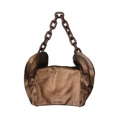 Prada Bronze Leather Handbag w/ Side Ruffles & Brown Glitter Enamel Link Strap
