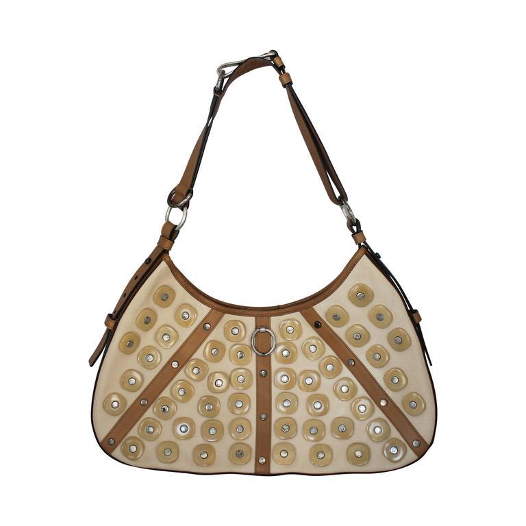 Yves Saint Laurent Beige Canvas Shoulder Bag w/ Enamel & Silver Studs For Sale