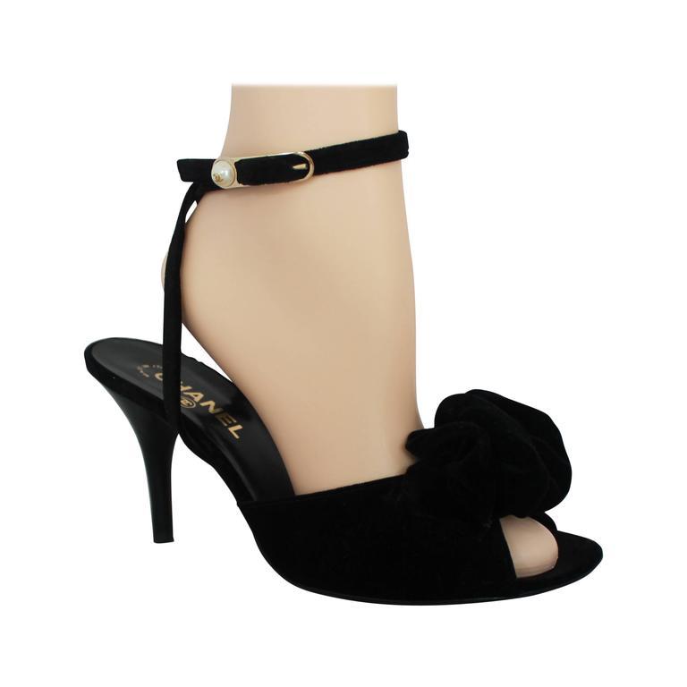 Chanel Black Velvet Open-Toe Strappy Heel w/ Floral Cluster - 39.5 1