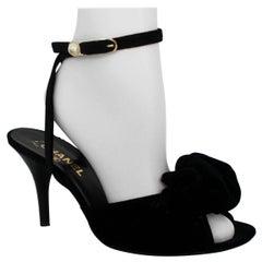 Chanel Black Velvet Open-Toe Strappy Heel w/ Floral Cluster - 39.5