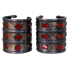 1880's Huge Antique Victorian Couture Silver and Carnelian Pair Cuff Bracelets