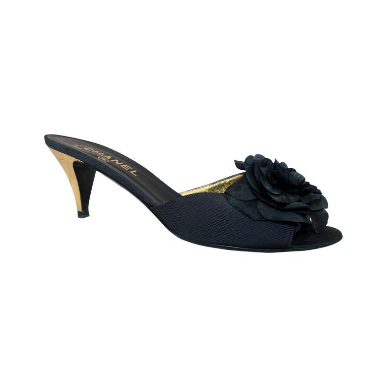 Chanel Navy Silk Faille Slide w/ Camellia & Geometric Etched Gold Heel - 40