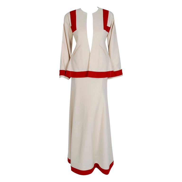 1973 Ossie Clark Ivory Red Block-Color Wool Jacket & Maxi Skirt Dress Ensemble