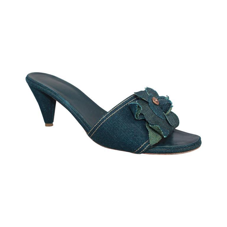 Chanel Blue Denim Slides w/ Camellia & Chanel Rivet - 40 1