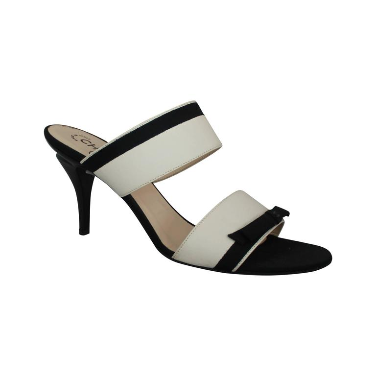 Chanel Ivory Lambskin Double Strap Heels w/ Black Ribbon Trim - 40