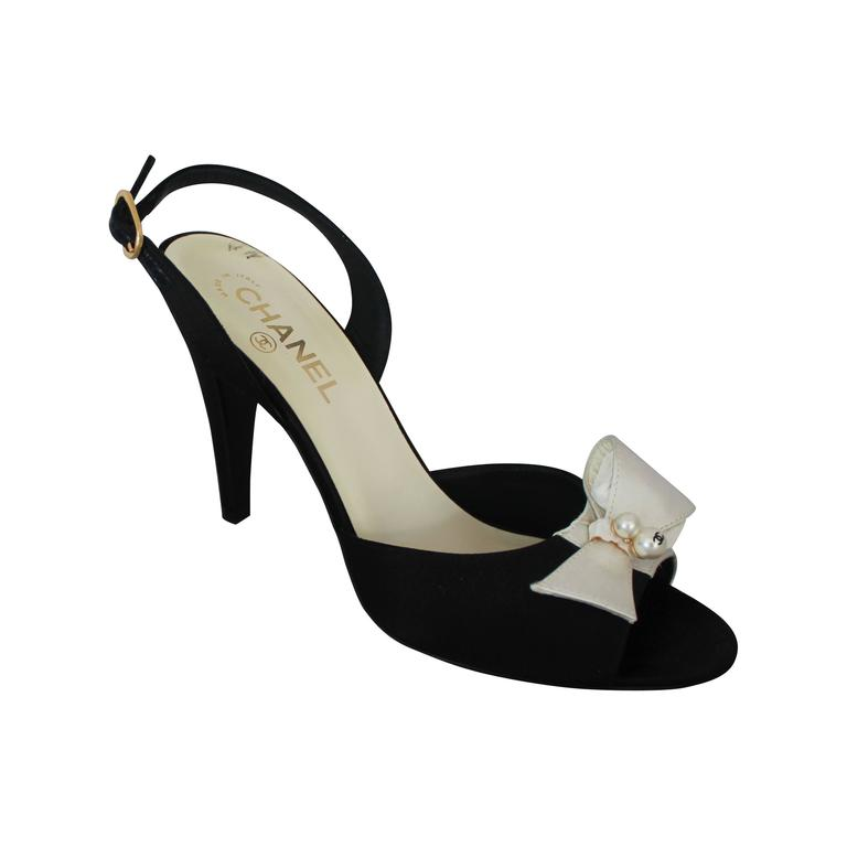 Chanel Black & Ivory Satin Open-Toe Sling Back Sandals w/ Front Bow - 40 1