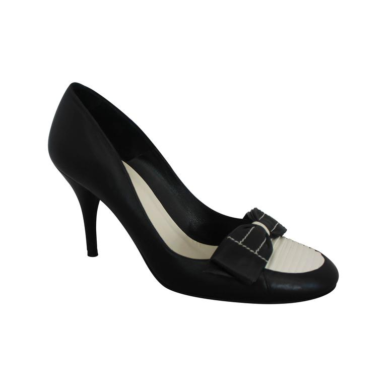 Chanel Black & Ivory Leather Loafer Style Pumps - 39.5