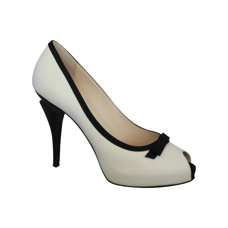 Chanel Ivory & Black Lambskin Peep Toe Pumps w/ Black Ribbon Trim - 40. For Sale