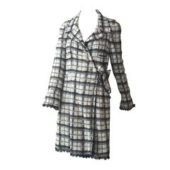 Chanel Black and White Plaid Duster w/ Side Button and Tie Closure
