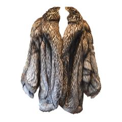 Gorgeous Silver Fox Fur Coat Womens Size Large