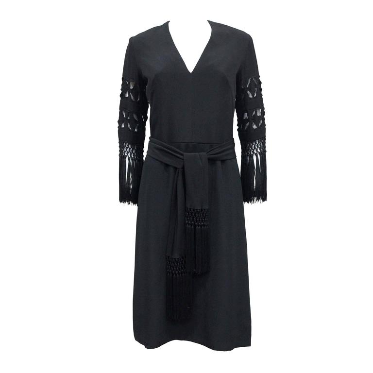 Exceptional 1940s British Couture Black Silk Cocktail Dress by Rahvis 1