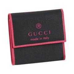 GUCCI Black Canvas Pink Leather WALLET & 6 KEY RING CASE Set TRADEMARK Print