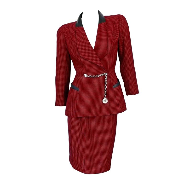 Thierry Mugler Vintage Houndstooth Wool Skirt Suit