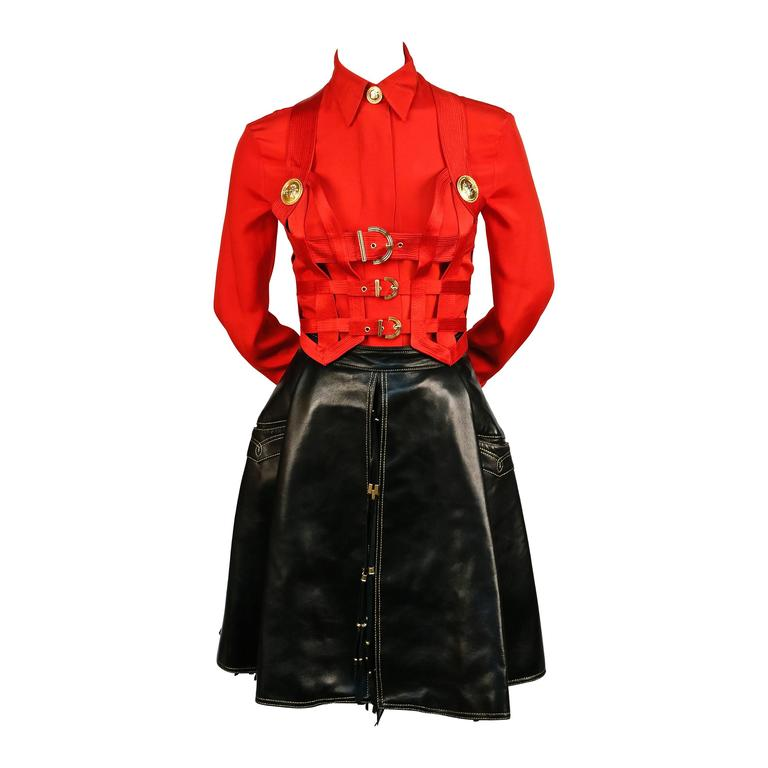 Iconic GIANNI VERSACE Bondage Harness silk blouse and leather skirt Fall 1992 For Sale