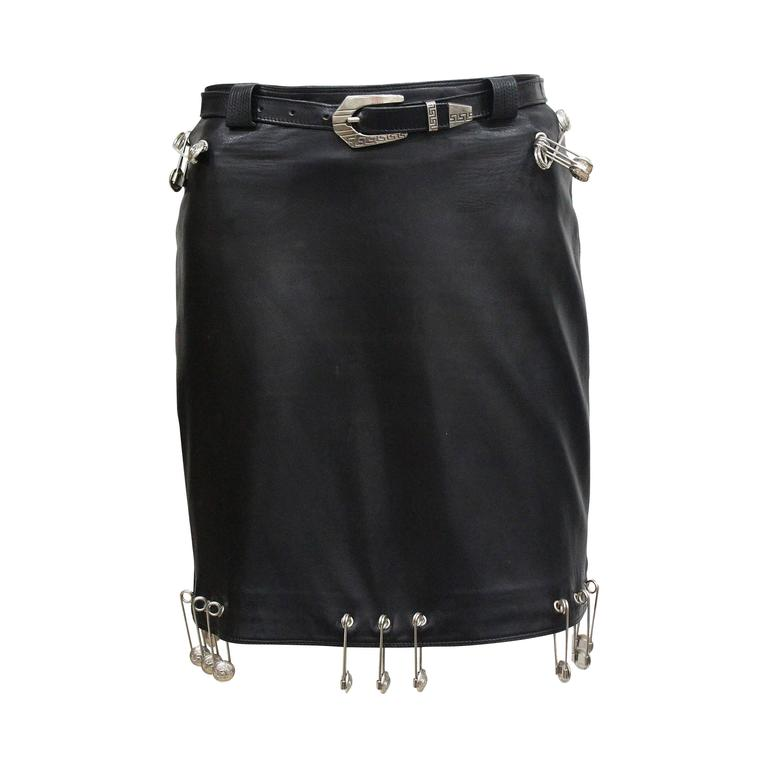 Important Gianni Versace safety pin leather mini skirt, Fall 1994 1