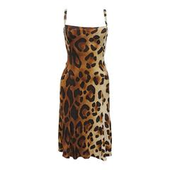 90s Gianni Versace Leopard Print Bodycon Jersey Dress, Spring 1994