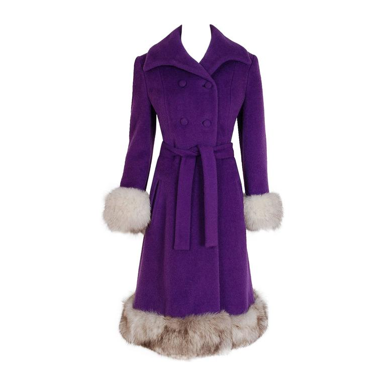 1960's Lilli-Ann Purple Wool & Fox Fur Double-Breasted Belted Princess Coat  1
