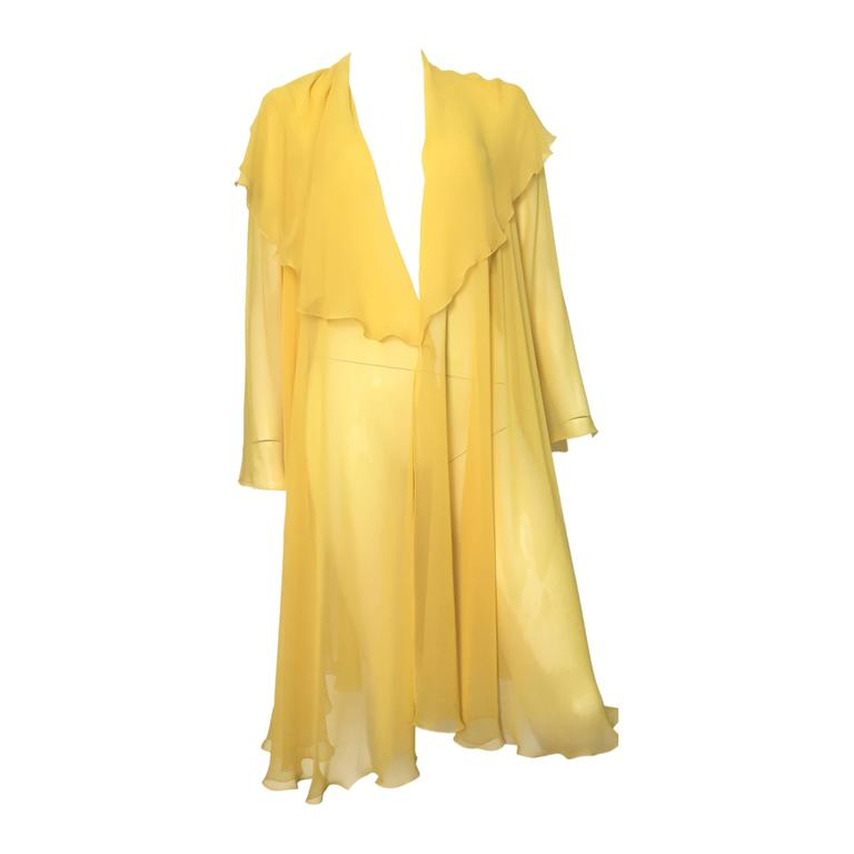Loris Azzaro Yellow Silk Sheer Jacket Size 2 / 4. 1