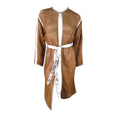 MISSONI Size M Tan Leather Woven Mesh Silver Piping Coat