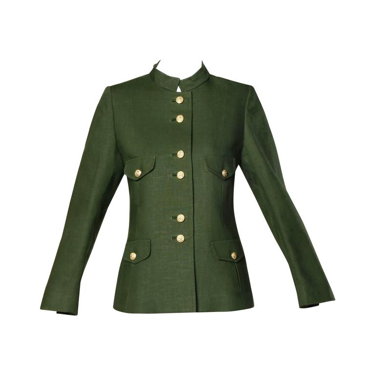 Bergdorf Goodman Vintage Olive Green Military Jacket