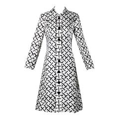 I. Magnin Vintage 1960s Graphic Black + White Print Silk Mod Coat