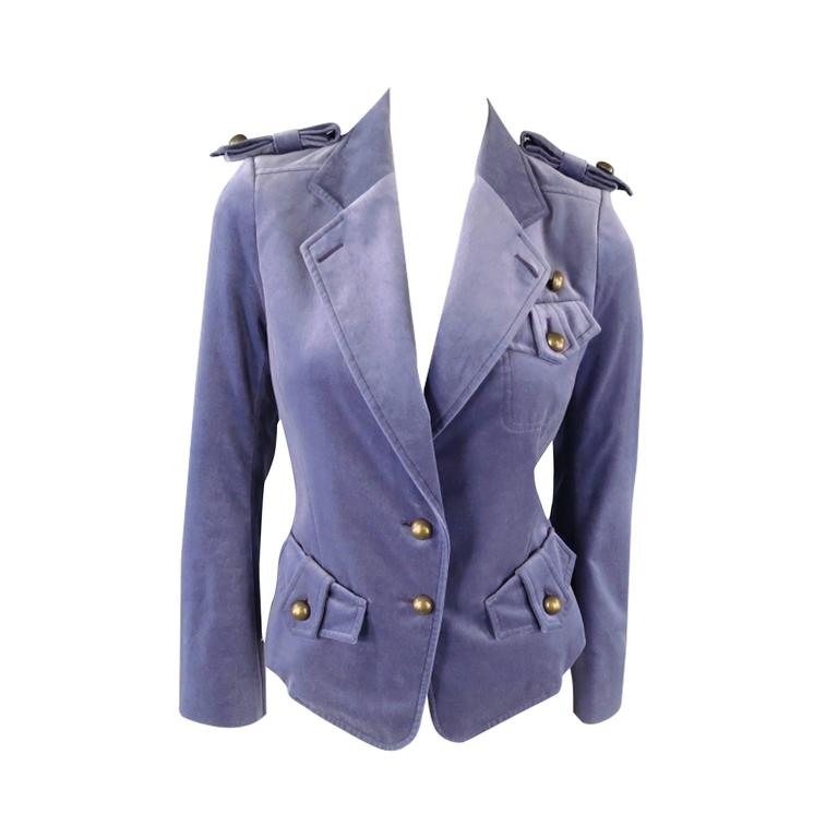 YVES SAINT LAURENT by TOM FORD Size 6 Lavender Velvet Military Jacket 2004 For Sale