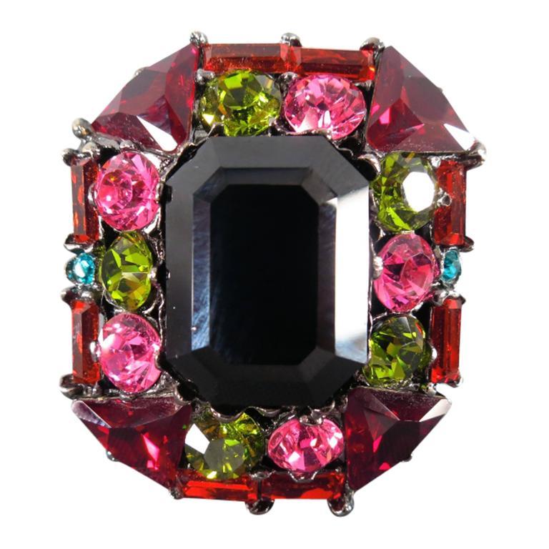 yves saint laurent multi color crystal square cocktail. Black Bedroom Furniture Sets. Home Design Ideas